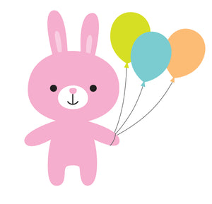 Cute Birthday Party Zoo Animals Bunny Rabbit Vinyl Decal Sticker