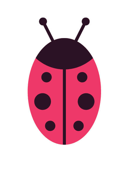Cute Black and Pink Kitty Cat - Lady Bug Vinyl Decal Sticker