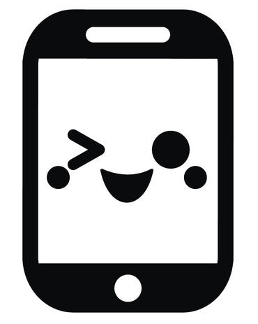 Cute Black and White Smartphone iPhone Emoji #12 Vinyl Decal Sticker
