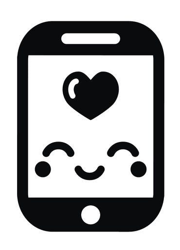 Cute Black and White Smartphone iPhone Emoji #1 Vinyl Decal Sticker