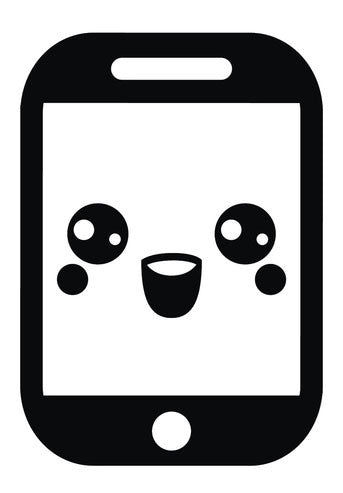 Cute Black and White Smartphone iPhone Emoji #8 Vinyl Decal Sticker