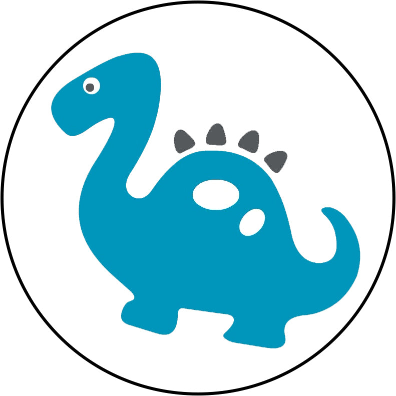 Cute Blue Animal Insect Zoo Cartoon Icon - Dinosaur Border Around Image As Shown Vinyl Decal Sticker