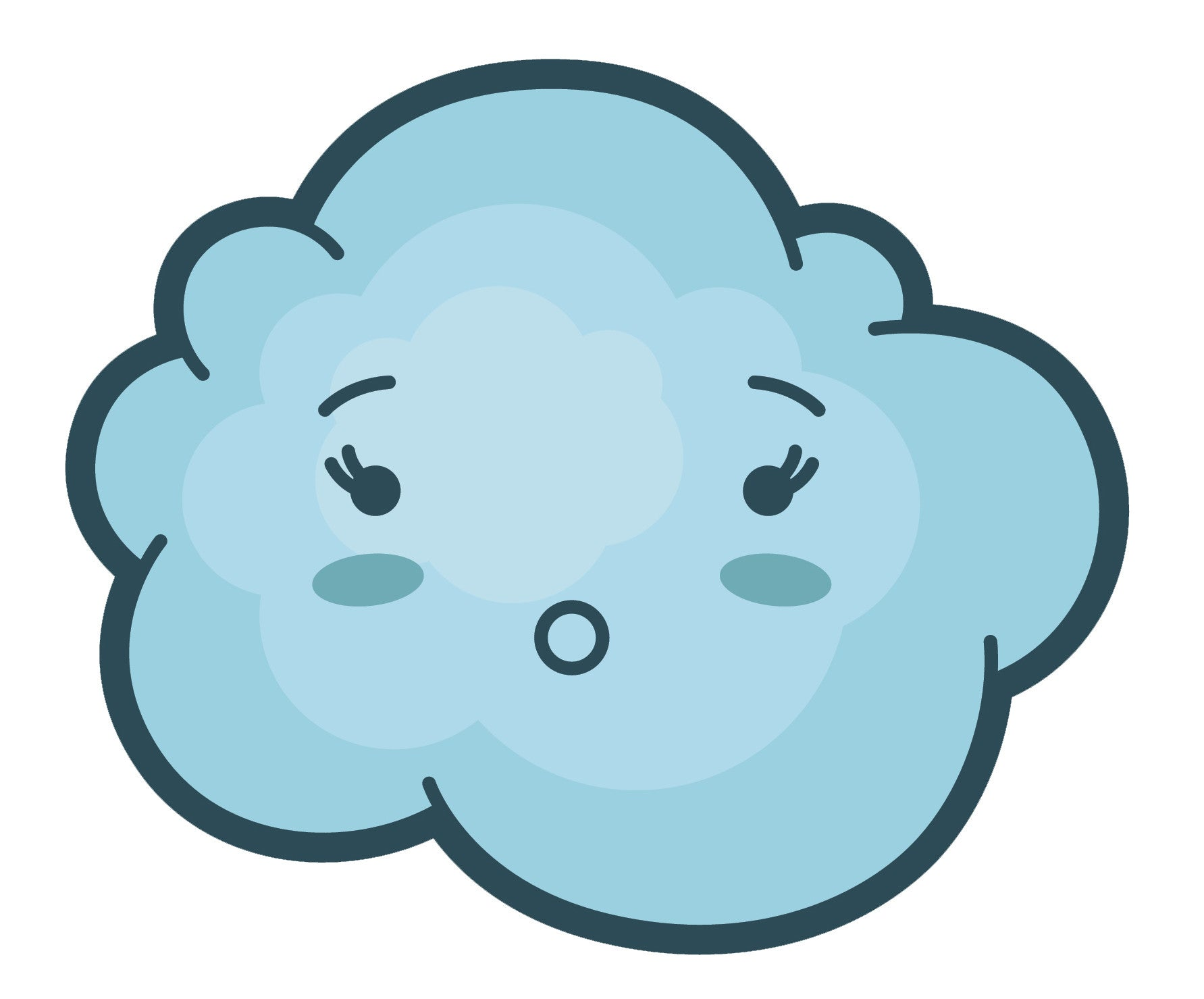 Cute Blue Cloud Emoji (4) Vinyl Decal Sticker