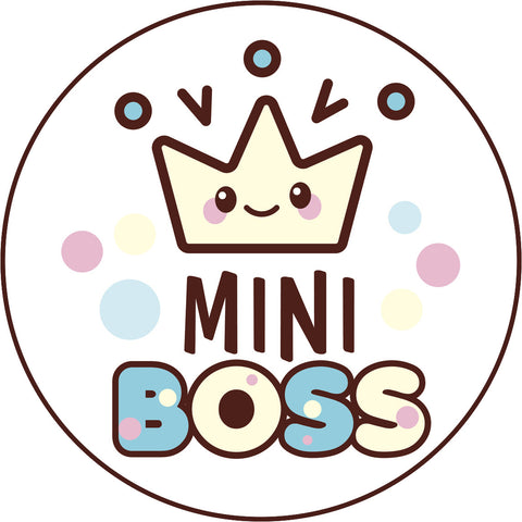 Cute Blue Girly Kawaii Candy Letters Icon - Mini Boss Crown Vinyl Decal Sticker