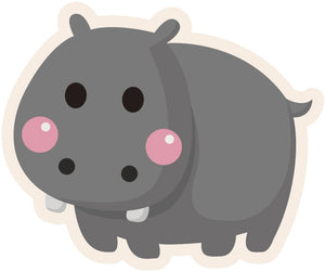 Cute Blushing Baby Animal - Hippo #7 Vinyl Decal Sticker
