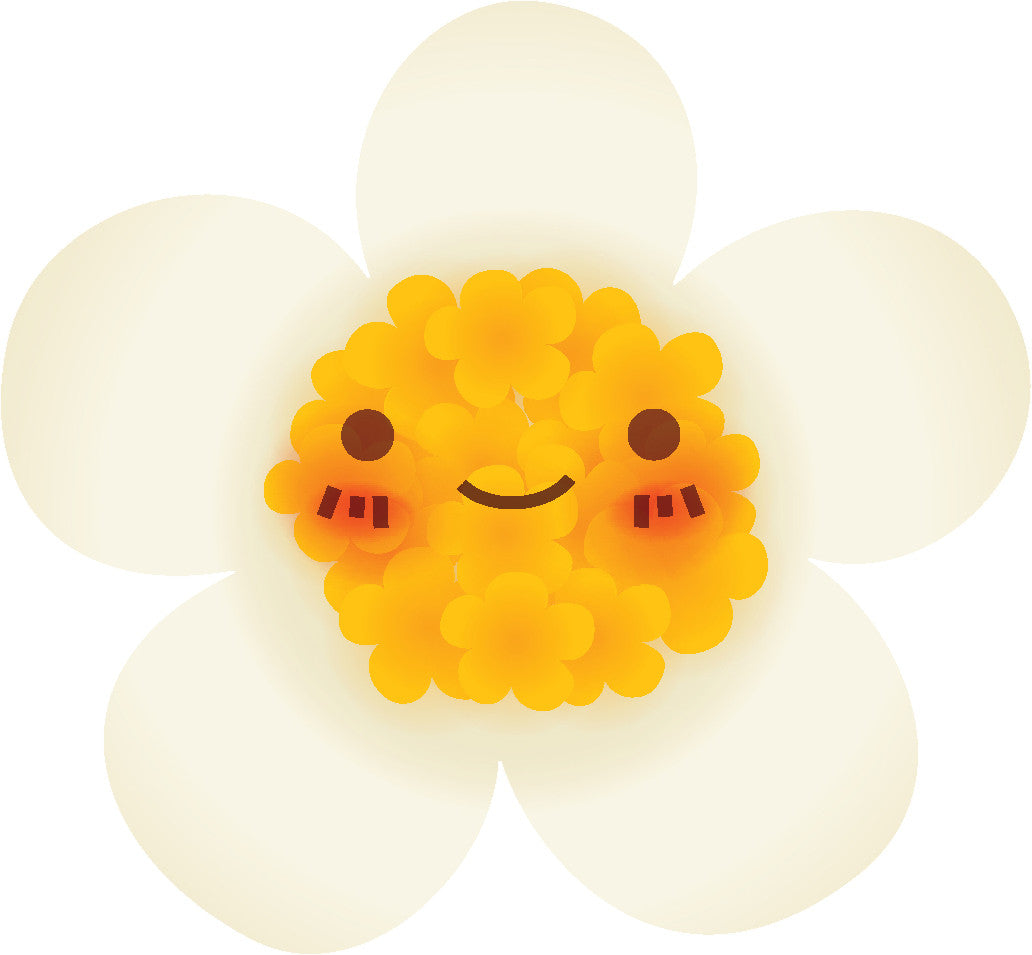 Cute Blushing Flower Cartoon Emoji #1 Vinyl Decal Sticker