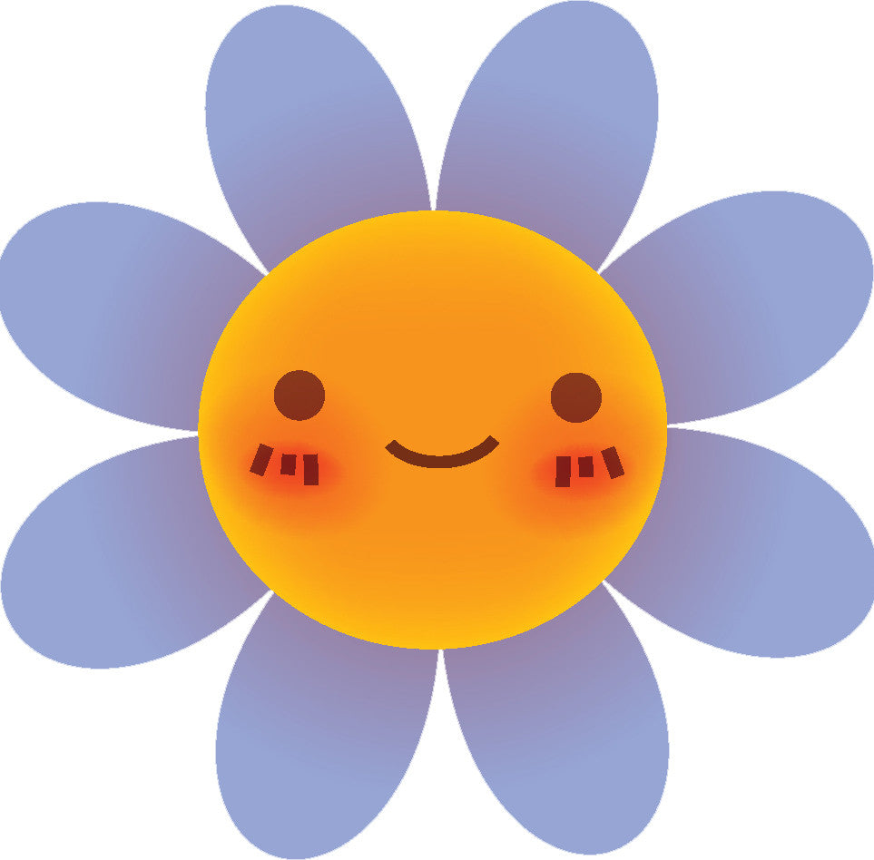 Cute Blushing Flower Cartoon Emoji #2 Vinyl Decal Sticker