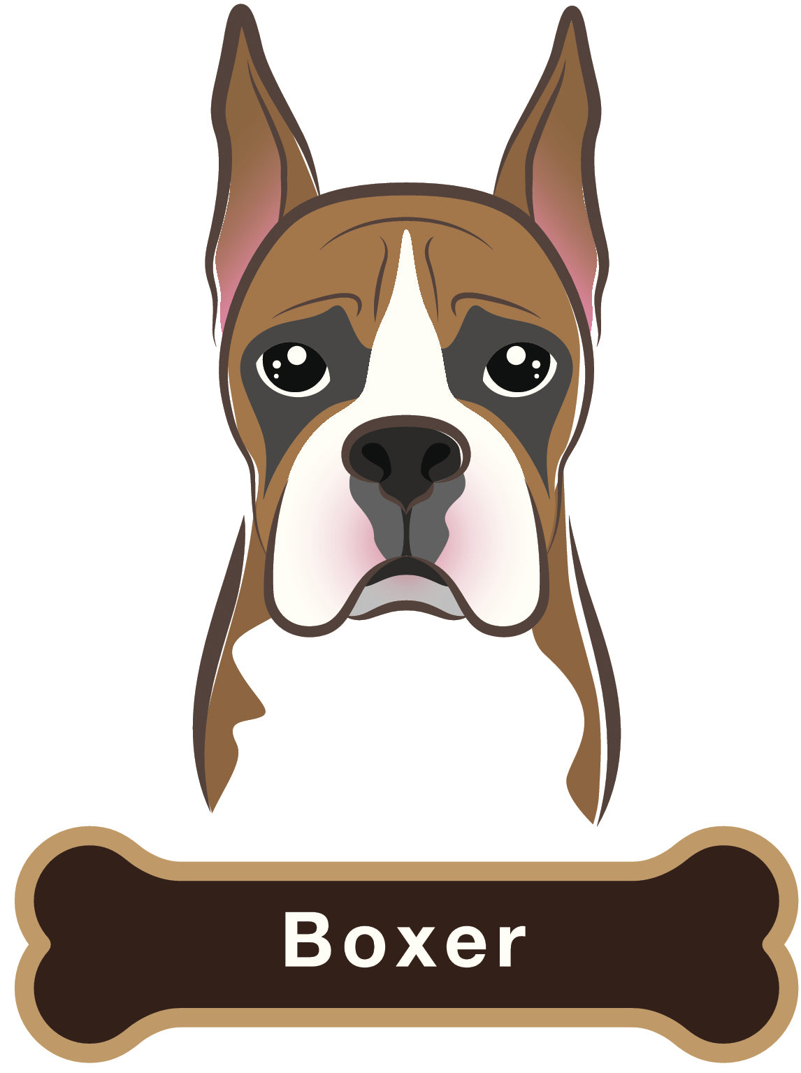 Cute Boxer Dog Vinyl Decal Sticker