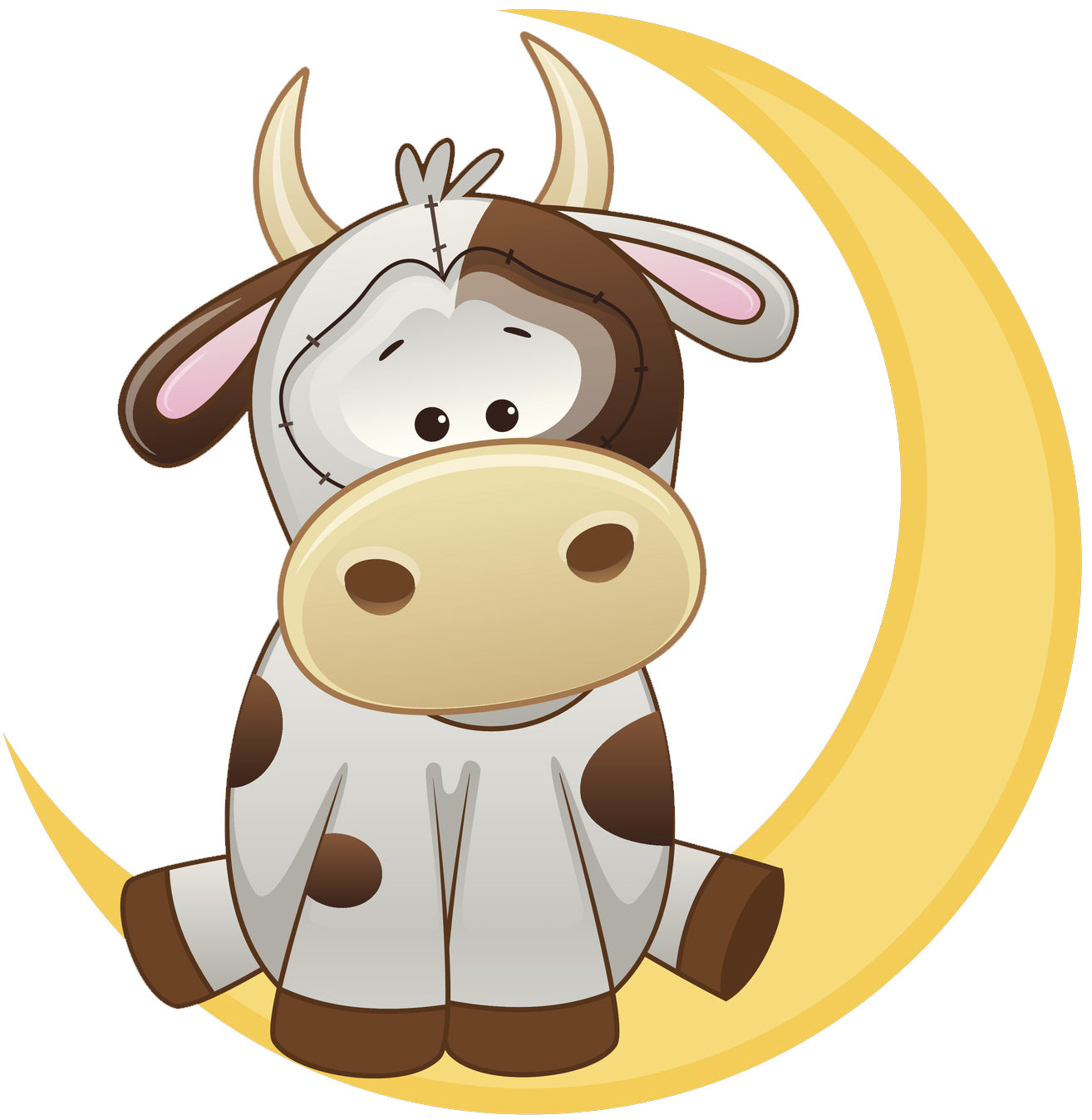 Cute Brown and White Milking Cow on Crescent Moon Vinyl Decal Sticker