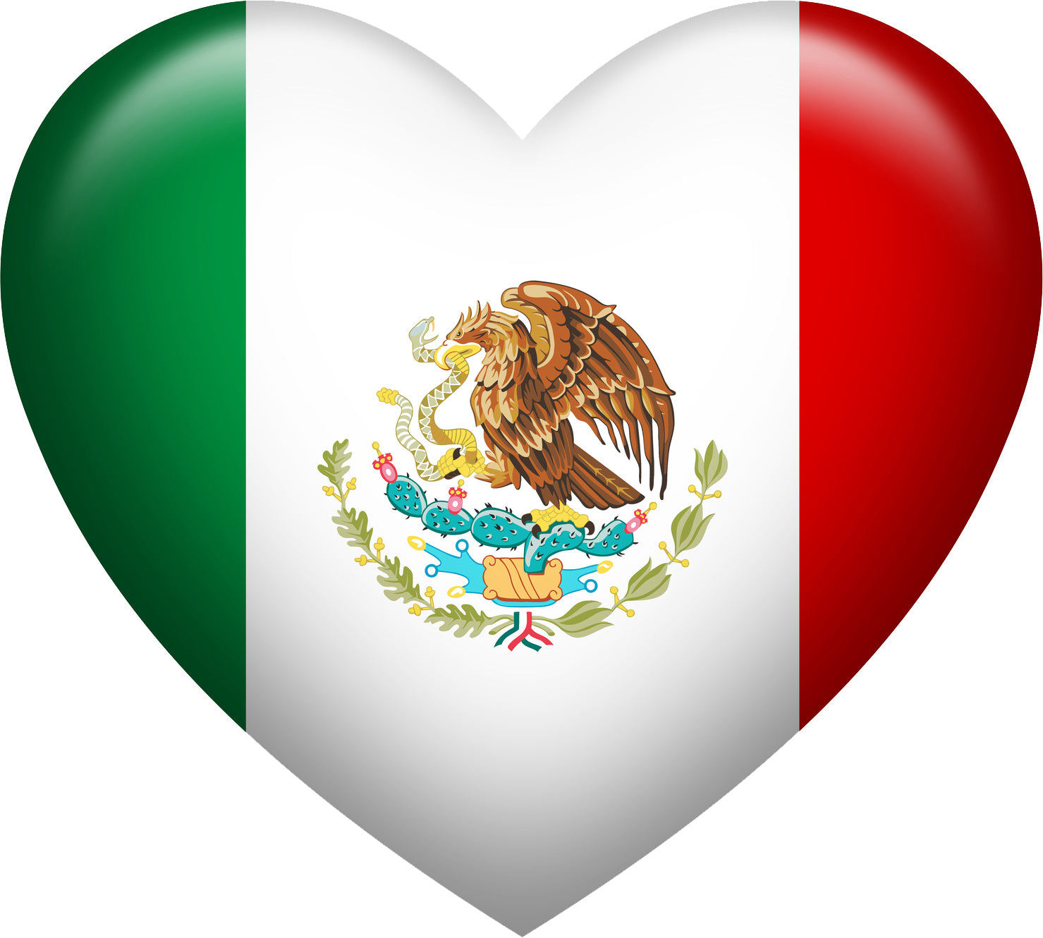 Cute Bubble Heart Shaped Mexican Flag Vinyl Decal Sticker