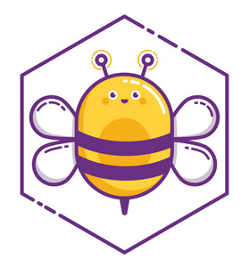 Cute Bumble Bee in Purple Hexagon Border Around Image As Shown Vinyl Decal Sticker