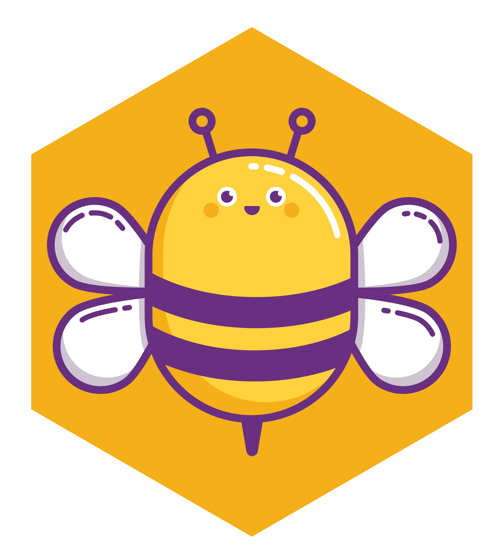 Cute Bumble Bee in Yellow Hexagon Vinyl Decal Sticker