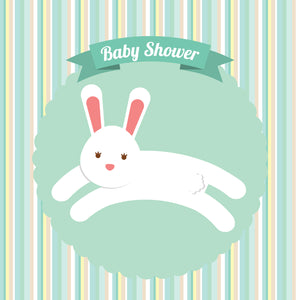 Cute Bunny Rabbit Hop for Baby Shower Mint Green Vinyl Decal Sticker