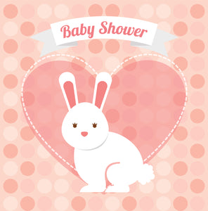 Cute Bunny Rabbit in Peach Heart for Girl Baby Shower Vinyl Decal Sticker