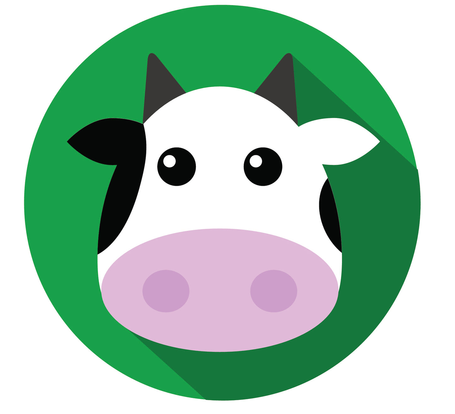 Cute Cartoon Milk Cow - Green Shadowed #2 Vinyl Decal Sticker