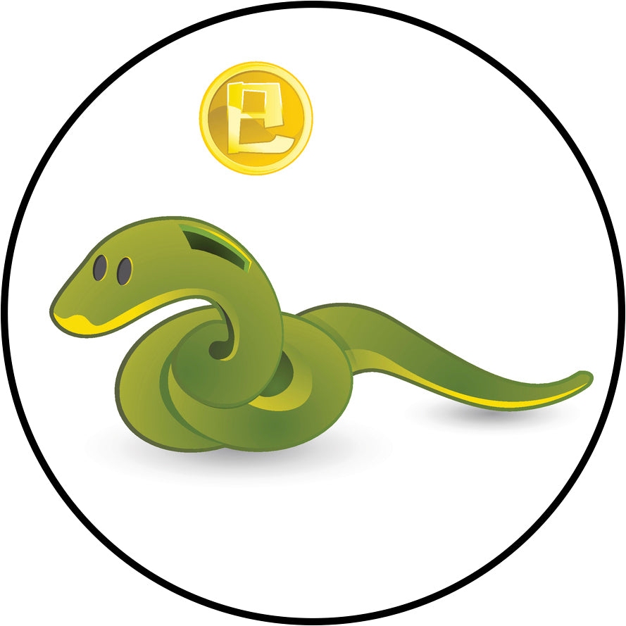 Cute Chinese Zodiac Animal Piggy Bank Cartoon #1 - Snake Border Around Image As Shown Vinyl Decal Sticker