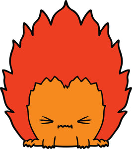 Cute Concentrated Flame Man Cartoon Vinyl Decal Sticker