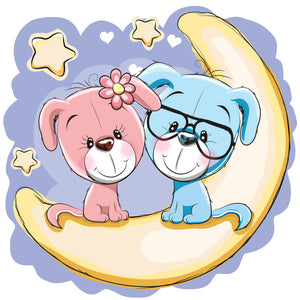 Cute Dog Couple on Moon Vinyl Decal Sticker