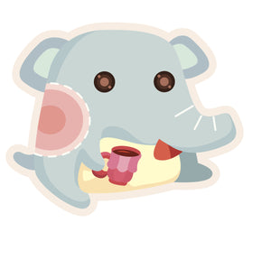 Cute Elephant with Coffee Cup #1 Vinyl Decal Sticker
