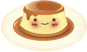 Cute Face on Yummy Flan Vinyl Decal Sticker