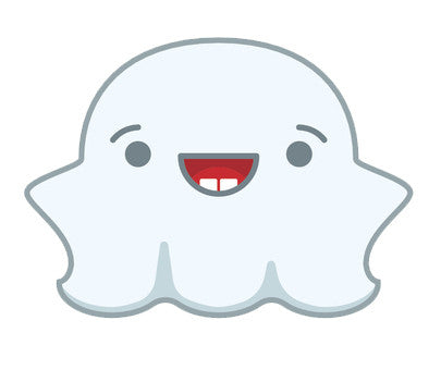 Cute Fat Baby Ghost Emoji - Happy Vinyl Decal Sticker