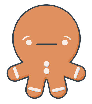 Cute Gingerbread Man Baby Emoji - Annoyed Vinyl Decal Sticker