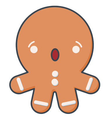 Cute Gingerbread Man Baby Emoji - Shocked Vinyl Decal Sticker