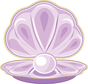 Cute Girly Purple Oyster Pearl Shell Cartoon Vinyl Decal Sticker