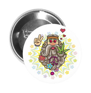 Round Pinback Button Pin Brooch Cute Gray Bearded Hippie Man with Flower Power Background Icon