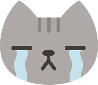 Cute Gray Kitty Cat Face Emoji - Sad Crying Vinyl Decal Sticker