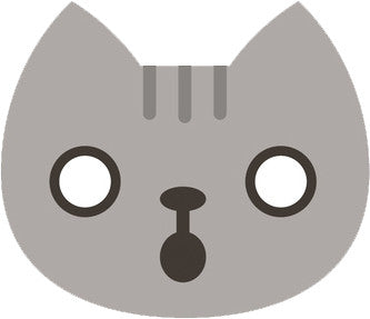 Cute Gray Kitty Cat Face Emoji - Shocked Vinyl Decal Sticker