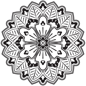 Cute Grayscale Henna Mandala Flower Icon #3 Vinyl Decal Sticker