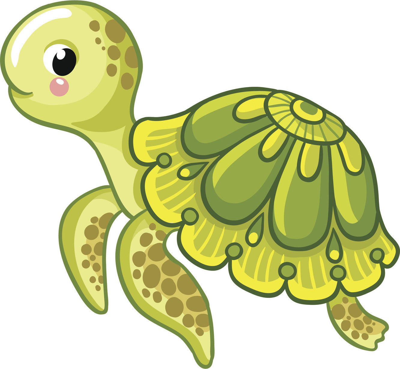 Cute Green Baby Sea Turtle Tortoise with Mandala Shell Vinyl Decal Sticker