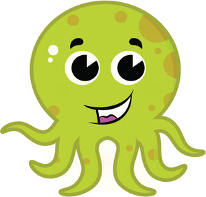 Cute Green Spotted Octopus Vinyl Decal Sticker
