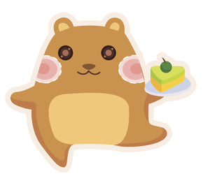 Cute Hammy Hamster with Cake #7 Vinyl Decal Sticker