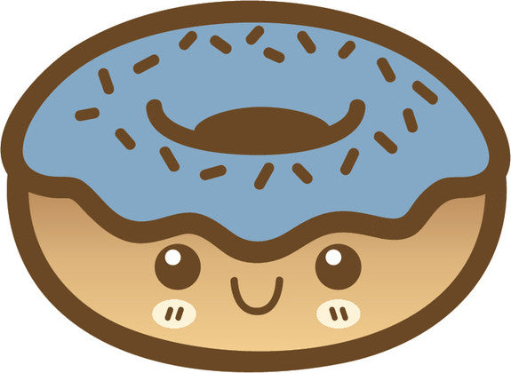 Cute Happy Kawaii Dessert Food Cartoon Emoji - Donut Vinyl Decal Sticker