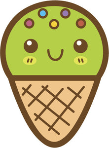Cute Happy Kawaii Dessert Food Cartoon Emoji - Ice Cream Cone Vinyl Decal Sticker