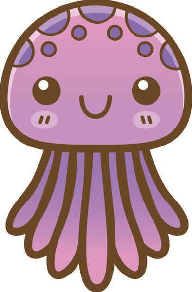 Cute Happy Kawaii Sea Creature Life Animal Cartoon Emoji - Squid Vinyl Decal Sticker