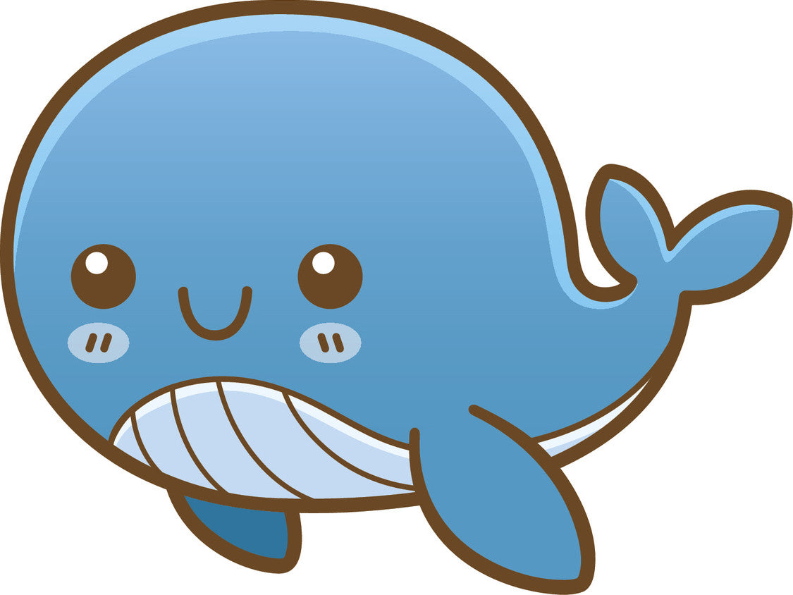 Cute Happy Kawaii Sea Creature Life Animal Cartoon Emoji - Whale Vinyl Decal Sticker