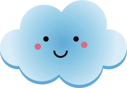 Cute Happy Kawaii Weather Climate Cartoon Emoji - Cloud #2 Vinyl Decal Sticker