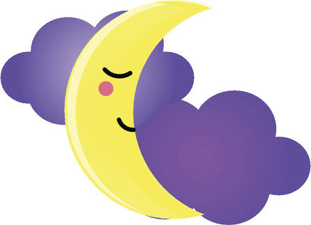 Cute Happy Kawaii Weather Climate Cartoon Emoji - Crescent Moon Vinyl Decal Sticker