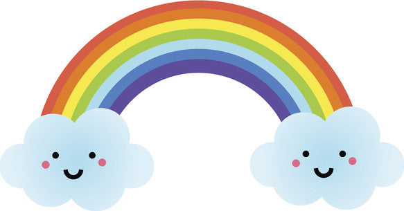 Cute Happy Kawaii Weather Climate Cartoon Emoji - Rainbow Vinyl Decal Sticker