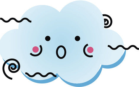 Cute Happy Kawaii Weather Climate Cartoon Emoji - Windy Vinyl Decal Sticker