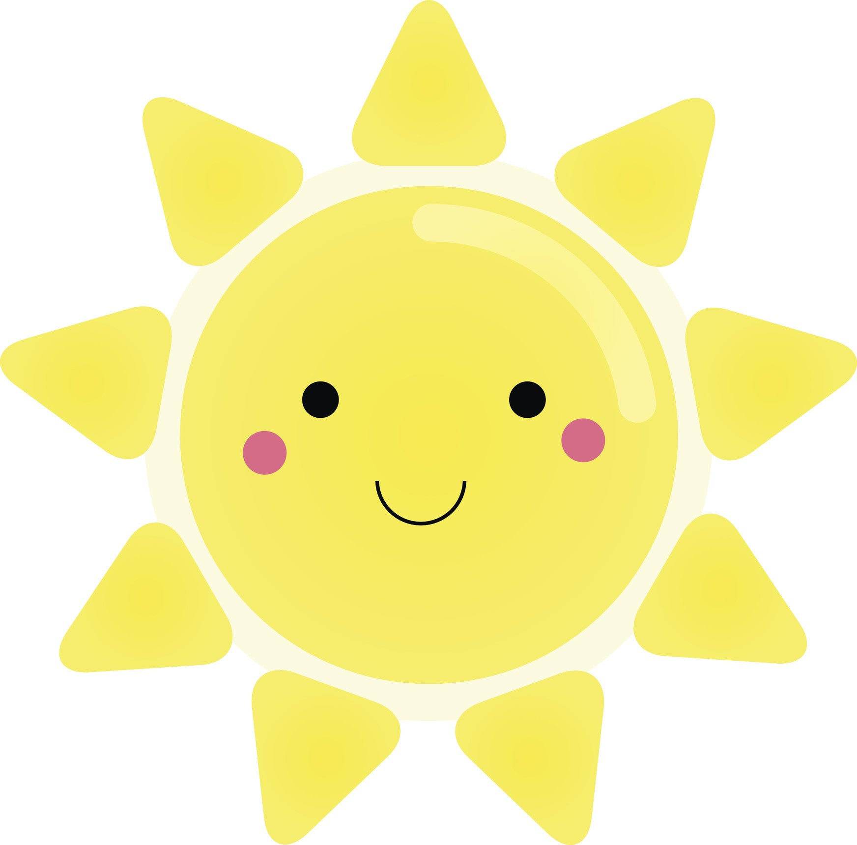 Cute Happy Nursery Kindergarten Sun Emoji Cartoon Vinyl Decal Sticker