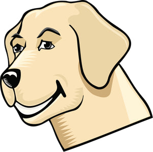 Cute Happy Smiling Pen Art Puppy Dog Cartoon - Golden Retriever Vinyl Decal Sticker