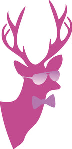 Cute Hipster Pastel Christmas Holiday Decoration Cartoon - Pink Deer Vinyl Decal Sticker
