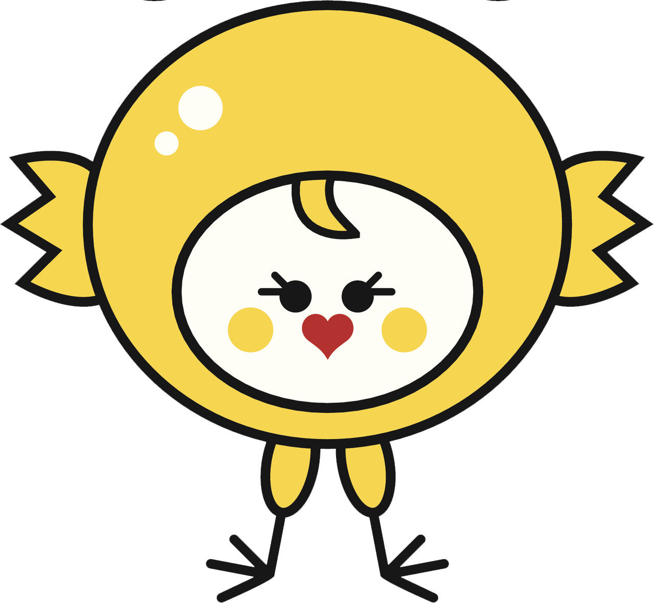 Cute Kawaii Animal in Costume Cartoon - Baby Chick Vinyl Decal Sticker