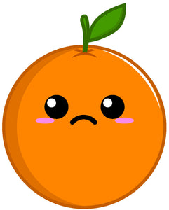 Cute Kawaii Anime Fruit Cartoon Emoji - Orange #3 Vinyl Decal Sticker