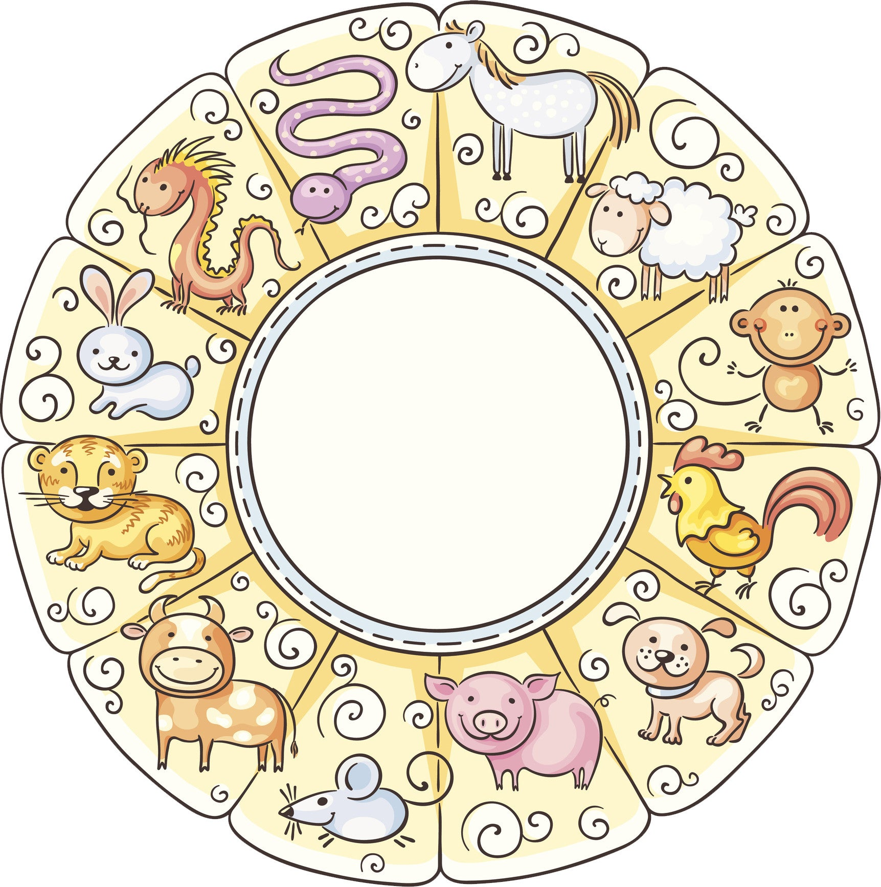 Cute Kawaii Chinese Zodiac Sign Pen Art Cartoon Wheel Icon Vinyl Decal Sticker