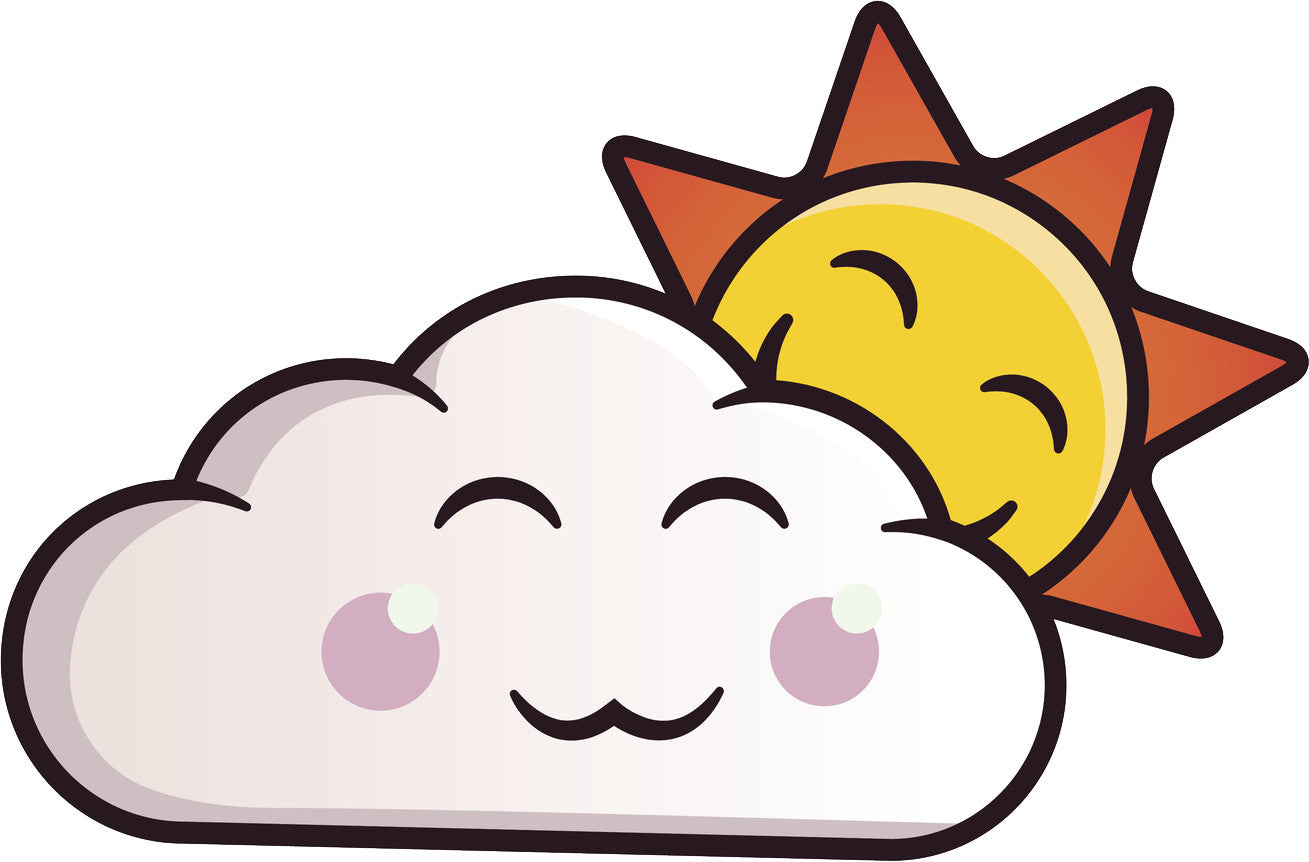 Cute Kawaii Cloud Cartoon Emoji - Sunny Vinyl Decal Sticker